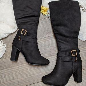 Top moda 7 1/2 black soft boots new heel winter